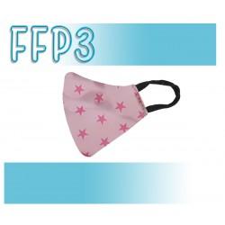 Mascarillas Reutilizables Triple Capa FFP3 - Pico de Pato Estrellas Rosa
