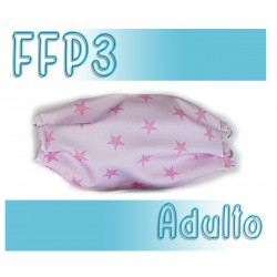 Mascarillas Adulto Reutilizables Triple Capa FFP3 - Estrellas Rosa