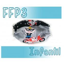 Mascarillas infantiles Reutilizables Triple Capa FFP3 - Moto
