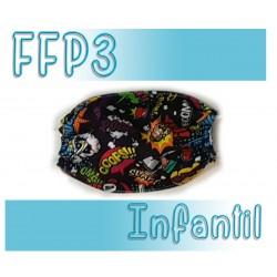 Mascarillas infantiles Reutilizables Triple Capa FFP3 - Comic Negro