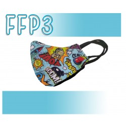Mascarillas Reutilizables Triple Capa FFP3 - Pico de Pato Comic Azul