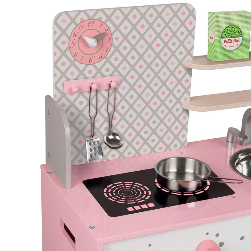 DK170003.5 cocina de madera macaron blanca y rosa janod