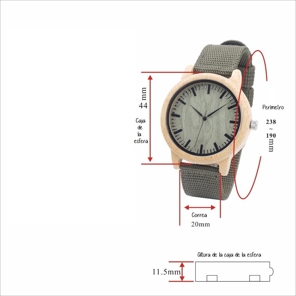 Caracteristicas reloj madera y nylon verde